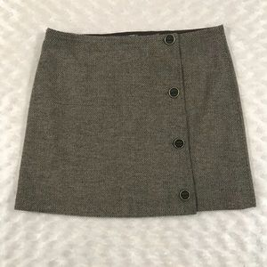 Prana 2 Wrap Skirt Brown Tweed Wool Blend Short